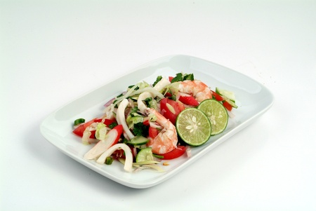 Salad with squid and vegetables - malaysian food Stock Photo - 9267596