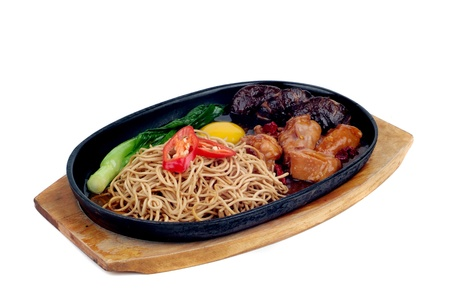 sizzling: chinese food, sizzling crispy noodle - malaysian food  Stock Photo