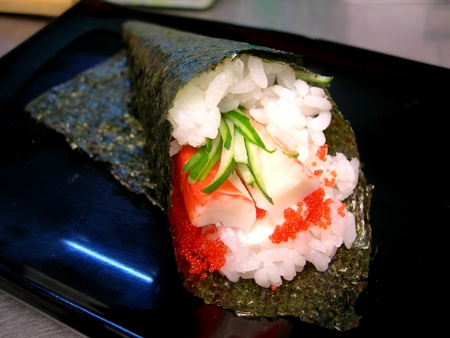person appetizer: california handroll - japanese food