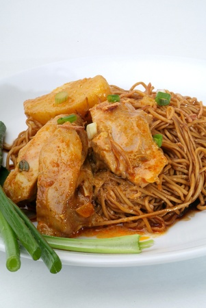 dried wanton noodle with curry chicken - malaysian food  photo