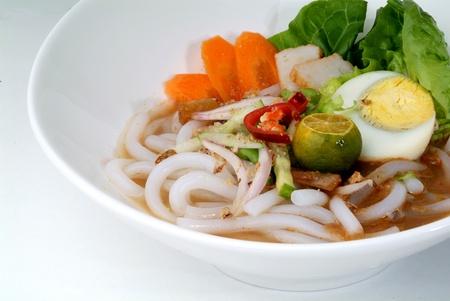 malay food: assam laksa - rice noodles
