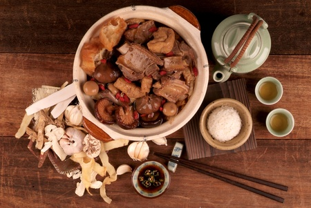 Malaysian stew of pork and herbal soup, ba kut teh.  photo