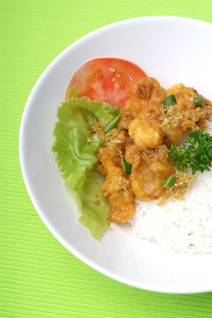 garam: hot and spicy meat with white rice