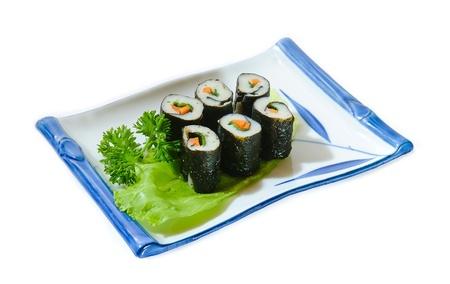 tekka: Sushi Roll on Plate Stock Photo