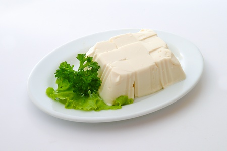 bean curd: Tofu isolated on white Stock Photo