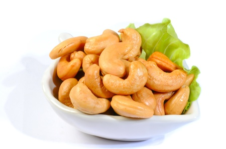 fishery products: cashew nuts isolated on white background