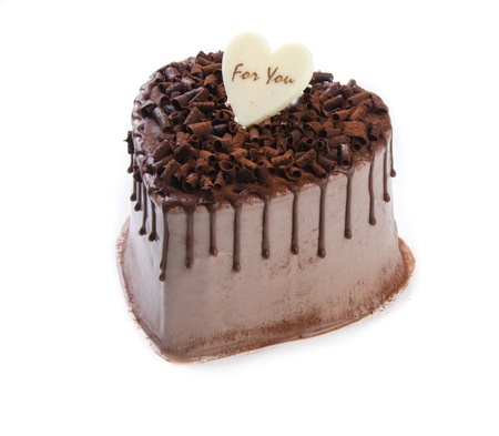 Heart Shaped Cake on white background photo