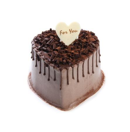 cake slice: Heart Shaped Cake on white background