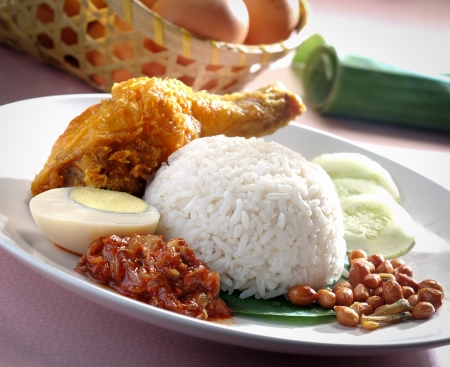 Nasi lemak traditional malaysian spicy rice dish Stock Photo - 12648575