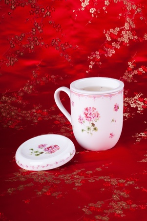 green tea set with background photo