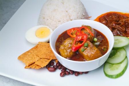 Nasi lemak traditional malaysian spicy rice dish Stock Photo - 12948340
