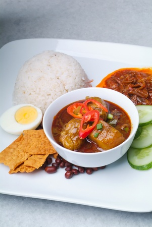Nasi lemak traditional malaysian spicy rice dish Stock Photo - 12948337