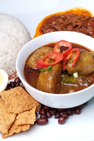 Nasi lemak traditional malaysian spicy rice dish Stock Photo - 12948537