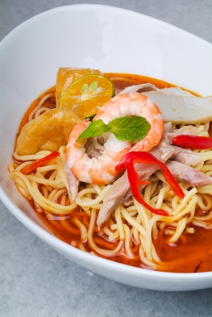 noodle bowl: Prawn noodle - Malaysian food spicy noodles