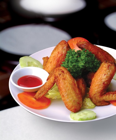 chicken wings with a background photo