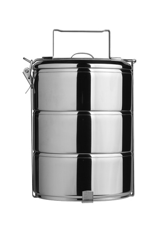Metal Tiffin, Food Container On White Background photo