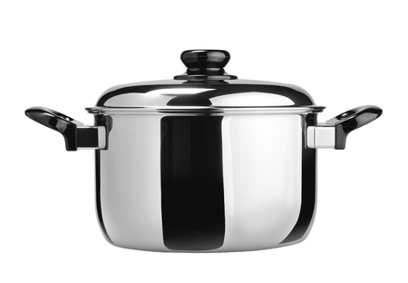 Stainless steel cooking pot isolated on white Stock Photo - 13081335