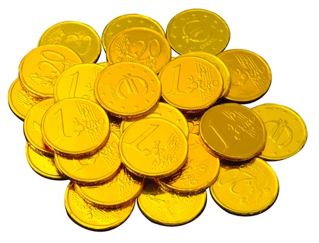 chocolate coins wrapped in shiny golden tinfoil photo