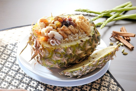 pineapple fried rice with Seafoods photo