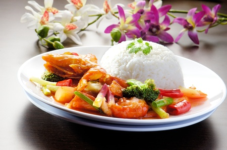 east asia: shrimp serve with rice asia food
