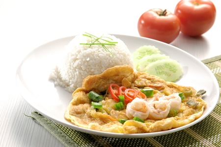 omelet with rice and fish sauce spicy.thai food. photo