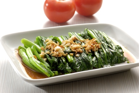 chinese spinach: Stir Fried Vegetables on a plate