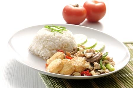 carne picada: Queso de soja y carne picada en la cocina de arroz chino