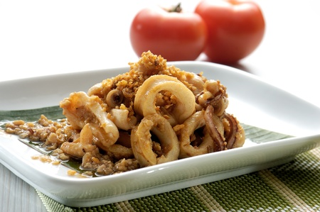 Thai Garlic cuttlefish asia food photo
