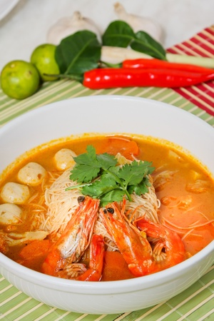 Prawn noodle - Malaysian food spicy noodles Stock Photo - 13202665