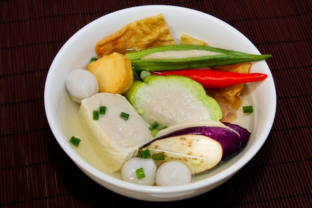 Yong Tau Fu. elicious Asian Chinese cuisine of fish paste stuffed