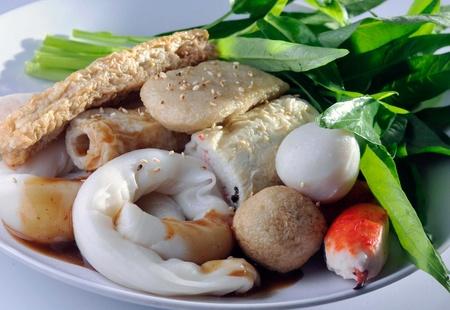 Yong Tau Fu. elicious Asian Chinese cuisine of fish paste stuffed photo