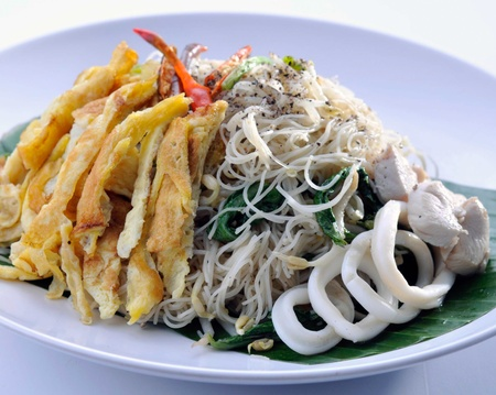 fried rice noodles with Seafood photo