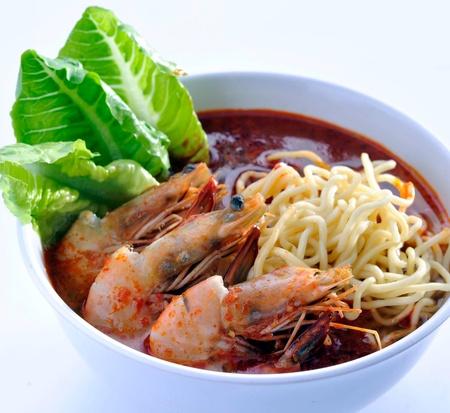 Fideos de gambas - Malasia alimentos picantes fideos