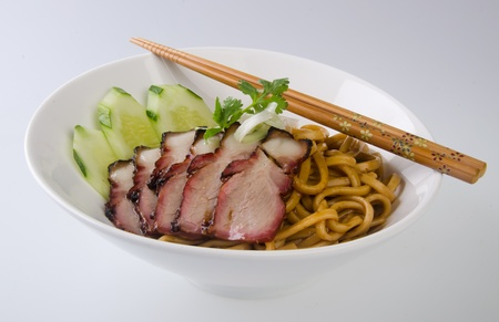 pork noodle  BBQ pork noodle bowl photo