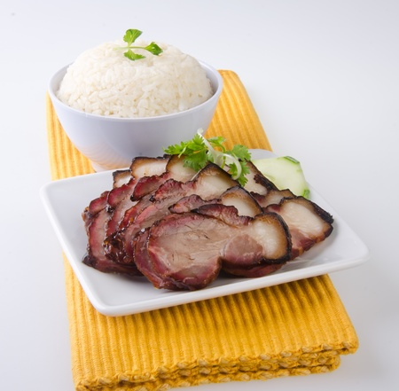 pork  BBQ Pork and Crispy Pork with Rice  Stock Photo - 13484015