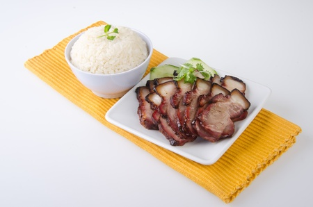 pork  BBQ Pork and Crispy Pork with Rice  photo