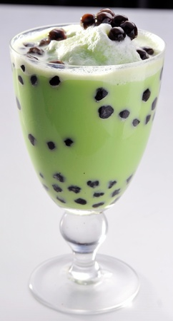 Pearl milk tea on white background photo