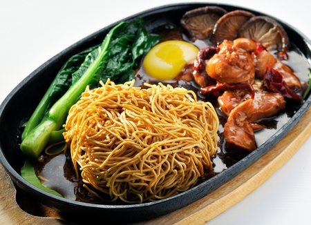chinese food, sizzling crispy noodle - malaysian food Stock Photo