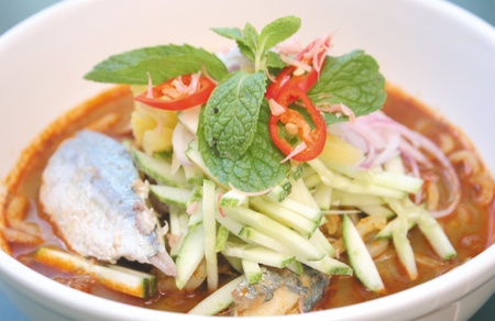 laksa: Assam fish - spicy and sour taste