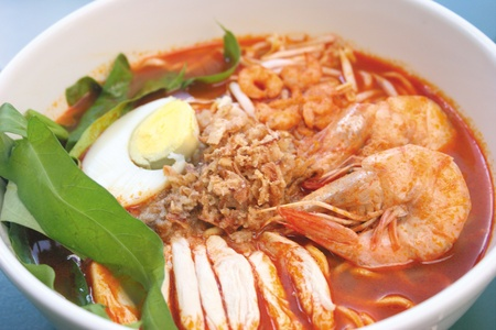 Prawn noodle - Malaysian food spicy noodles photo