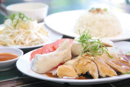 chicken rice. Asian style hainan chicken rice closeup