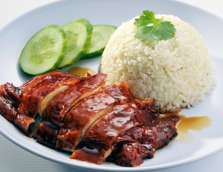 arroz blanco: el pollo el arroz asi�tico estilo Hainan pollo del arroz de cerca Foto de archivo