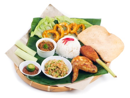 Indonesian traditional food, chicken, fish, vegetables Stock Photo - 13529046