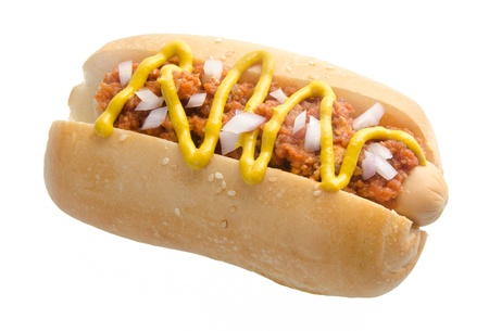 Hot dog on the white background photo