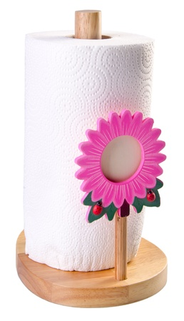 messy kitchen: kitchen paper towel holder on white background Stock Photo