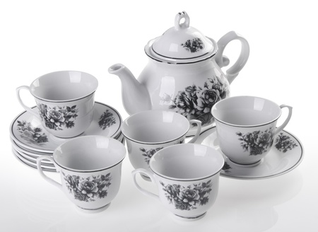 tea pot set, Porcelain tea pot and cup on white background Stock Photo