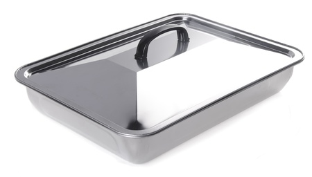 food containers, stainless steel food containers on white background photo