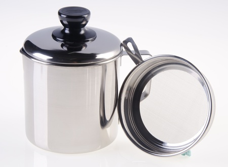 pot, Stainless steel pot on white background photo