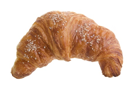 croissant. Fresh and tasty croissant over white background photo
