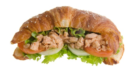 sandwich, croissant sandwich, fast food for breakfast or lunch  photo